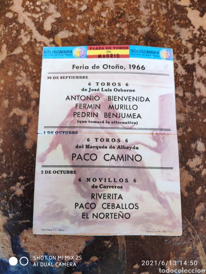 FOLLETO PUBLICITARIO DE CORRIDA DE TOROS, FERIA DE OTOÑO 1966 (PLAZA DE TOROS DE MADRID)(SOLISOMBRA) (Coleccionismo - Folletos de Turismo)