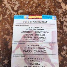 Folletos de turismo: FOLLETO PUBLICITARIO DE CORRIDA DE TOROS, FERIA DE OTOÑO 1966 (PLAZA DE TOROS DE MADRID)(SOLISOMBRA). Lote 268945589
