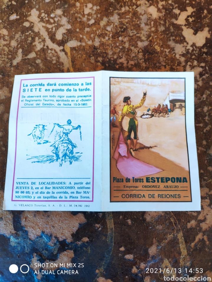 Folletos de turismo: FOLLETO PUBLICITARIO DE CORRIDA DE REJONES, DOMINGO 5 DE JULIO DE 1987 (PLAZA DE TOROS ESTEPONA) - Foto 2 - 268945819