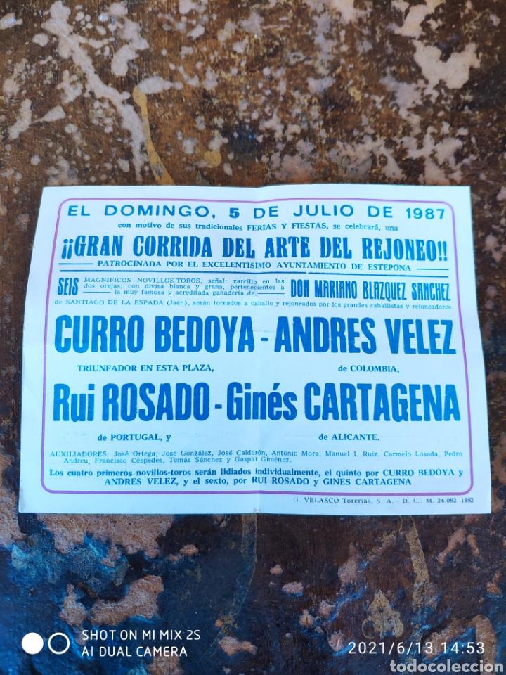 FOLLETO PUBLICITARIO DE CORRIDA DE REJONES, DOMINGO 5 DE JULIO DE 1987 (PLAZA DE TOROS ESTEPONA) (Coleccionismo - Folletos de Turismo)