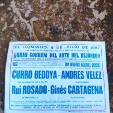 Folletos de turismo: FOLLETO PUBLICITARIO DE CORRIDA DE REJONES, DOMINGO 5 DE JULIO DE 1987 (PLAZA DE TOROS ESTEPONA). Lote 268945819