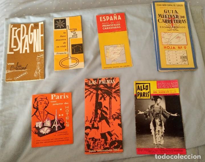 LOTE FOLLETOS PUBLICITARIOS TURÍSTICOS, MAPAS, REVISTA AÑOS 60 (Coleccionismo - Folletos de Turismo)