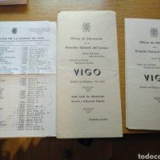 Folletos de turismo: FOLLETOS DE TURISMO DE VIGO Y ALOJAMIENTOS DE 1960. Lote 268980494