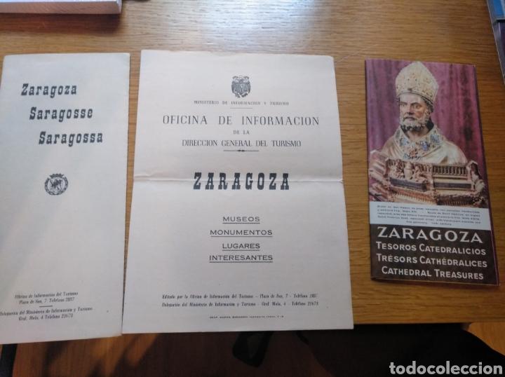 LOTE DE 3 FOLLETOS TURÍSTICOS DE ZARAGOZA DE 1960 (Coleccionismo - Folletos de Turismo)