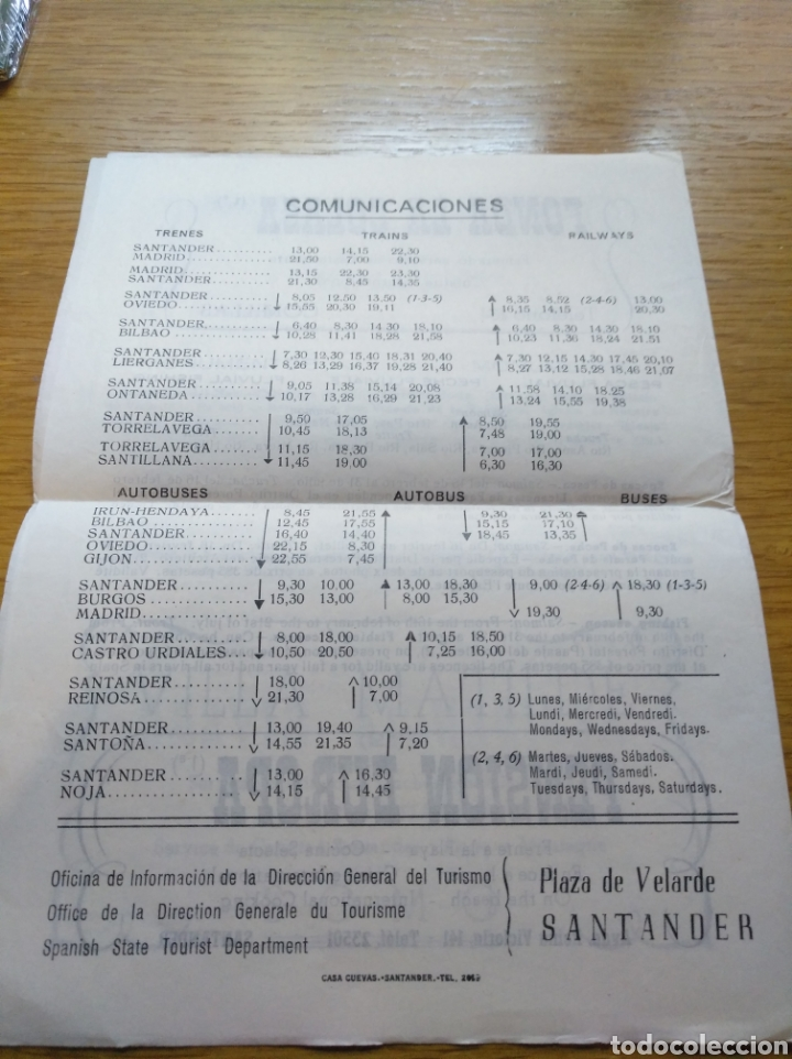 Folletos de turismo: Folleto de información turística de Santander 1960 - Foto 2 - 268983089