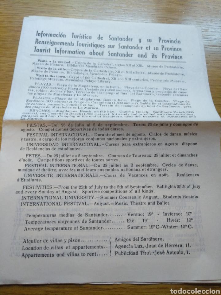 FOLLETO DE INFORMACIÓN TURÍSTICA DE SANTANDER 1960 (Coleccionismo - Folletos de Turismo)