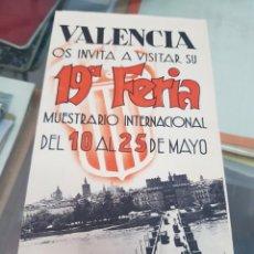 Folletos de turismo: ANTIGUO FOLLETO 19 FERIA INTERNACIONAL DE VALENCIA 1936. Lote 277584533