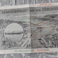 Folletos de turismo: DAMPFSCHIFFAHRT AUF DEM ZURICHSEE. 1926.LAC DE ZURICH.KLEINE RUNDFAHRT. Lote 278167303