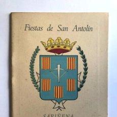Folletos de turismo: SARIÑENA AÑO 1957 / PROGRAMA DE FIESTAS DE SAN ANTOLÍN / HUESCA. Lote 278803093