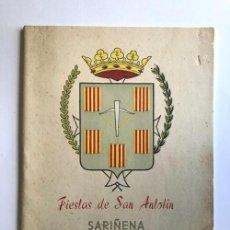 Folletos de turismo: SARIÑENA AÑO 1960 / PROGRAMA DE FIESTAS DE SAN ANTOLÍN / HUESCA. Lote 278803493