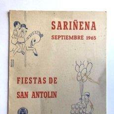 Folletos de turismo: SARIÑENA AÑO 1965 / PROGRAMA DE FIESTAS DE SAN ANTOLÍN / HUESCA. Lote 278805128