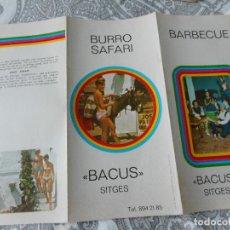 Folletos de turismo: ANTIGUO FOLLETO.BARBECUE.BURRO SAFARI.BACUS.SITGES 1973. Lote 279520753