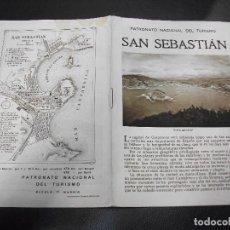 Folhetos de turismo: SAN SEBASTIAN FOLLETO DEL PATRONATO NACIONAL DE TURISMO CON PLANO. Lote 286854128
