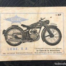 Folhetos de turismo: ANTIGUO FOLLETO MOTOCICLETA LUBE. BARACALDO (VIZCAYA). 1948. Lote 288484498