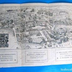 Folletos de turismo: PLANO DE LA EXPOSICIÓN INTERNACIONAL DE BARCELONA, 1929. REGALO DE LAS CRISTALERIAS PLANELL & RIBA.. Lote 295307253