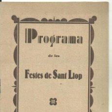 Folletos de turismo: 3720.- DOSRIUS-PROGRAMA DE LES FESTES DE SANT LLOP-ANY 1935-FESTA MAJOR. Lote 295310628