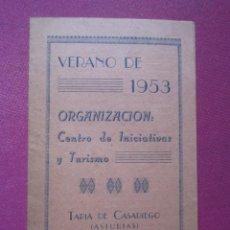 Folletos de turismo: FOLLETIN DE VERANO TAPIA DE CASARIEGO INICIATIVAS Y TURISMO AÑO 1953. Lote 295734568