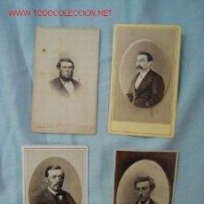 Fotografía antigua: LOTE DE 4 RETRATOS MASCULINOS PRIMER PLANO, SIGLO XIX. Lote 12214427