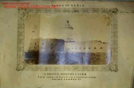FOTOGRAFIA DEL CUERPO DE INGENIEROS Á S.S.M.M. EN EL FUERTE DE SAN SEBASTIAN,CADIZ.SIGLO XIX, (Fotografía Antigua - Albúmina)