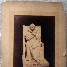 Fotografía antigua: ESCULTURA DE YESO. FUXÁ Y LEAL. FOTO DE LAURENT, DEDICADA POR EL ARTISTA. 1876 APROX. Lote 12496072