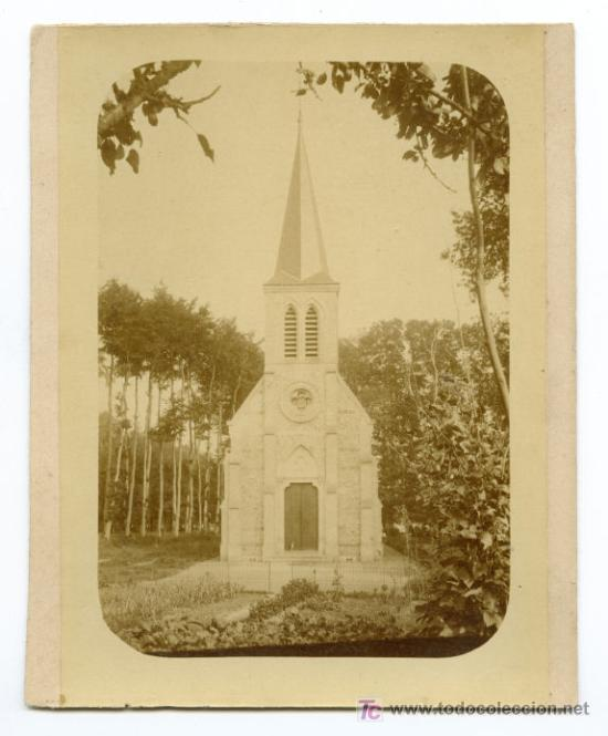 MAGNÍFICA FOTO DE ERMITA. FINALES S.XIX. CATALUÑA (Fotografía Antigua - Albúmina)