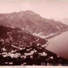 Fotografía antigua: RAVELLO, ITALIA. PANORAMA. FOTO: GIORGIO SOMMER. NAPOLI. 1880 APROX.. Lote 12532448