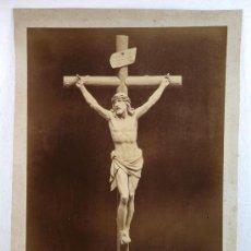 Fotografía antigua: FOTOGRAFÍA DE CRISTO EN CRUZ. TEXTO INFERIOR: J.CARCASSO, BARCELONA, 1893. FOTO DE AUDOUARD. Lote 15208274