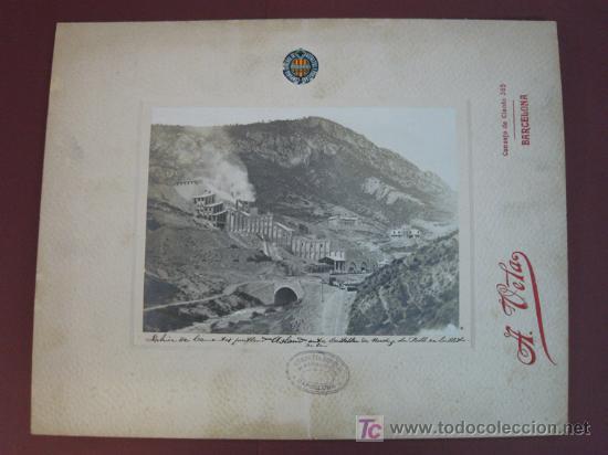FÁBRICA DE CEMENTOS PORTLAND ASLAND ENTRE CASTELLAR DE NUCH Y LA POBLA DE LILLET. FERROCARRIL. (Fotografía Antigua - Albúmina)