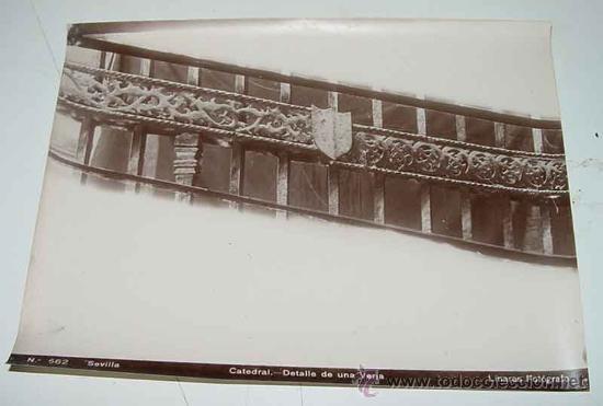 ANTIGUA FOTOGRAFIA ALBUMINA DE SEVILLA - DETALLE DE UNA VERJA - FOTO LINARES - MIDE 24 X 18 CMS. (Fotografía Antigua - Albúmina)