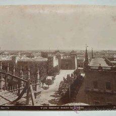 Fotografía antigua: ANTIGUA FOTOGRAFIA ALBUMINA DE SEVILLA - VISTA GENERAL DESDE LA GIRALDA - FOTO LINARES - MIDE 24 X 1. Lote 26518035
