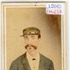 Fotografía antigua: (FM-637)FOTOGRAFIA ALBUMINIA COLOREADA DE MILITAR ESPAÑOL EN CUBA SIGLO XIX (10,5 X 6 CM.). Lote 11567567