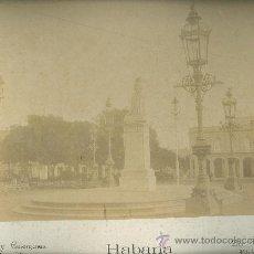 Fotografía antigua: CUBA. HABANA. ESTATUA DE LA REINA ISABEL II. HACIA 1890. OTERO Y COLOMINAS. GRAN FORMATO.. Lote 26764811