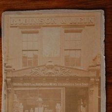 Fotografía antigua: ROBINSON & MEIN FOTOGRAFIA ORIGINAL DE 1900 APROX. ESCAPARATE TIENDA . Lote 14330643