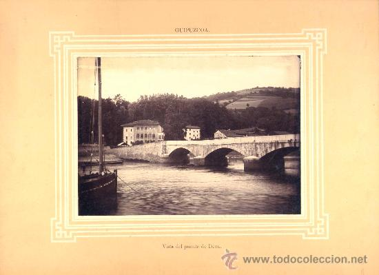 FOTOGRAFÍA EN ALBÚMINA TOMADA ANTES DE 1896 TOMADA CON LA VISTA DE LA RÍA DE DEVA. (Fotografía Antigua - Albúmina)