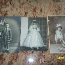 Fotografía antigua: TRES FOTOS ANTIGUAS CON NIÑAS- S/F.. Lote 19103154
