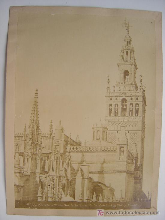 SEVILLA, Nº 77 - VISTA SUD DE LA TORRE DE LA CATEDRAL - AÑOS 1880-1890 (Fotografía Antigua - Albúmina)