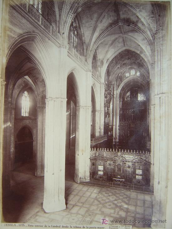 Fotografía antigua: SEVILLA, Nº 1375 -VISTA INTERIOR DE LA CATEDRAL DESDE LA TRIBUNA PUERTA- J. LAURENT - AÑOS 1880-1890 - Foto 2 - 26971406
