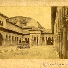 Fotografía antigua: FOTO ALBUMINA , ALHAMBRA DE GRANADA , PATIO DE LOS LEONES.. Lote 27560426