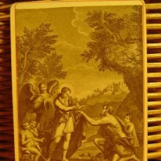 Fotografía antigua: PEQUEÑA FOTOGRAFÍA ANTIGUA DE CUADRO RELIGIOSO: STANISLAO KOSTKA. S.XIX. SOBRE CARTULINA DE ÉPOCA. . Lote 26914448