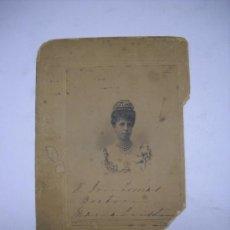 Fotografía antigua: FOTOGRAFIA REINA MARIA CRISTINA CON DEDICATORIA MANUSCRITA Y FIRMA AL MÚSICO TOMÁS BRETÓN.FRANZEN. Lote 26428499