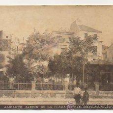 Fotografía antigua: ALICANTE. JARDÍN DE LA PLAZA DE SAN FRANCISCO. (FOTO MASANET). 12 X 17 CM. (FOTOGRAFÍA, ALBÚMINA). Lote 24249458