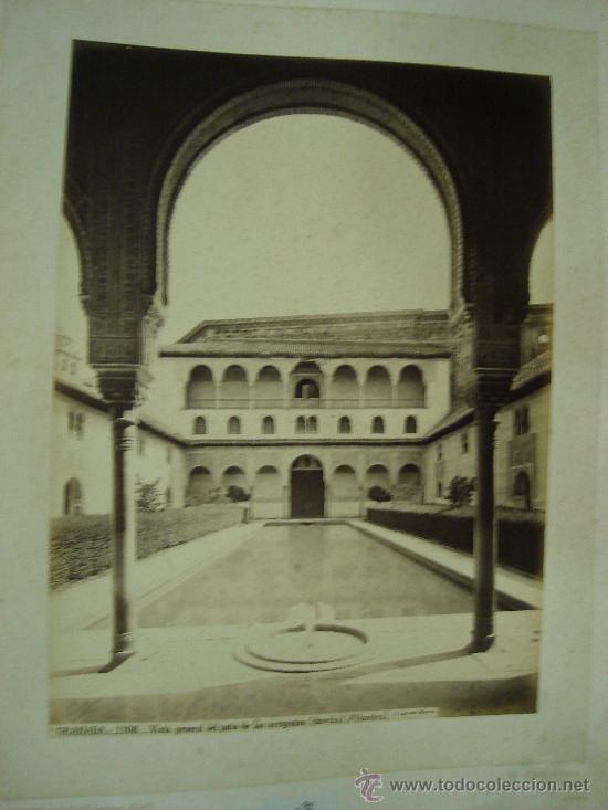 J.LAURENT. GRANADA 1108. VISTA GENERAL DEL PATIO DE LOS ARRAYANES (Fotografía Antigua - Albúmina)
