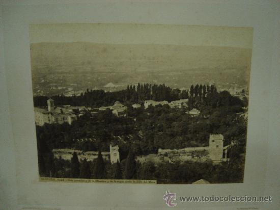 J.LAURENT. GRANADA 1144. VISTA PANORAMICA DE LA ALHAMBRA Y DE GRANADA DESDE LA SILLA DEL MORO (Fotografía Antigua - Albúmina)