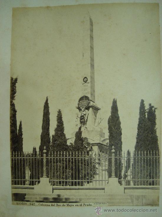 J. LAURENT. MADRID 942. COLUMNA DE DOS DE MAYO EN EL PRADO (Fotografía Antigua - Albúmina)