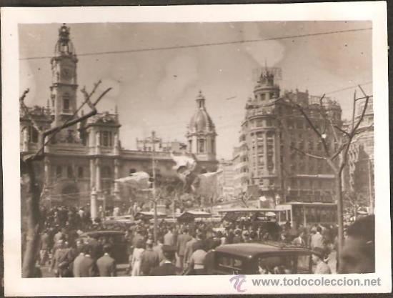 VALENCIA. FALLA PLAZA DEL CAUDILLO. SO QUELO. AÑO 1945 (Fotografía Antigua - Albúmina)