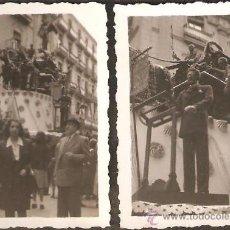 Fotografía antigua: VALENCIA. DOS PEQUEÑAS FOTOS DE LA FALLA PLAZA MANISES - SERRANOS. AÑO 1945.. Lote 26339824