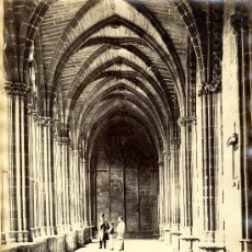 Fotografía antigua: PAMPLONA. CLAUSTRO DE LA CATEDRAL. POR J. LAURENT. Lote 25174016