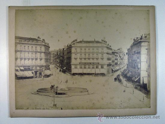 MADRID. Nº 42. LA PUERTA DEL SOL. J. LAURENT MADRID. SIGLO XIX GRANDE (Fotografía Antigua - Albúmina)