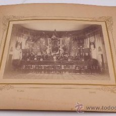 Fotografía antigua: GIRONA, SALA POR IDENTIFICAR, 1870'S. FOTO: UNAL, GERONA. FOTO: 16X22 CM. SOPORTE: 30X36 CM. Lote 26568876