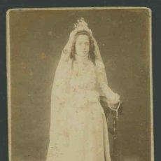 Fotografía antigua: EXCELENTE NIÑA PRIMERA COMUNIÓN. BARCELONA. GARCÍA Y SANTOS. RARA. C.1890. Lote 27018424